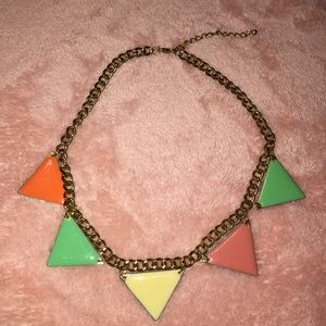 Multi Colored Enamel Triangle Necklace